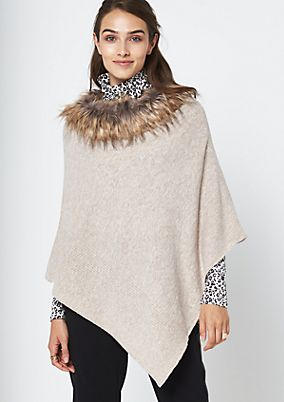 Warm knit poncho with a fake fur collar from comma