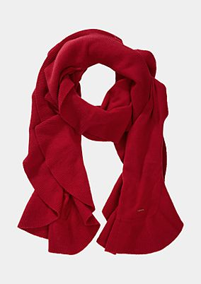 Soft knit scarf with a wide flounce trim from comma