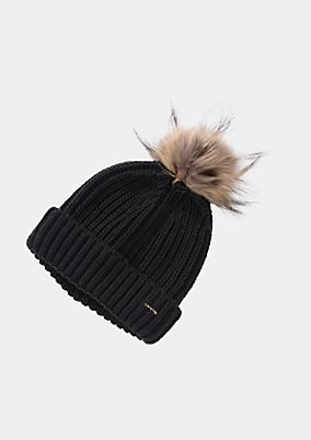 Knitted bobble hat with a fake fur pompom from comma