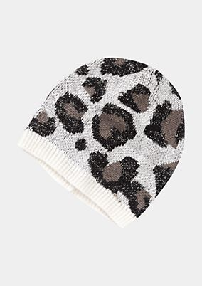 Knitted hat with leopardskin pattern from comma