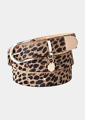 Leather belt with a leopardskin pattern from s.Oliver