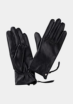 Fine leather gloves with zips from comma