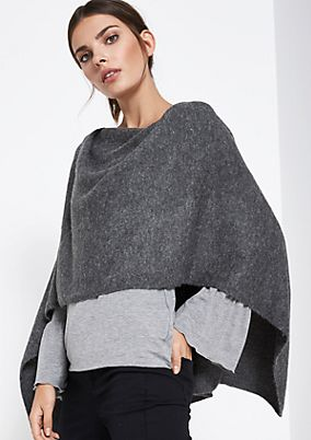 Warm knit poncho with rhinestone embellishment from comma
