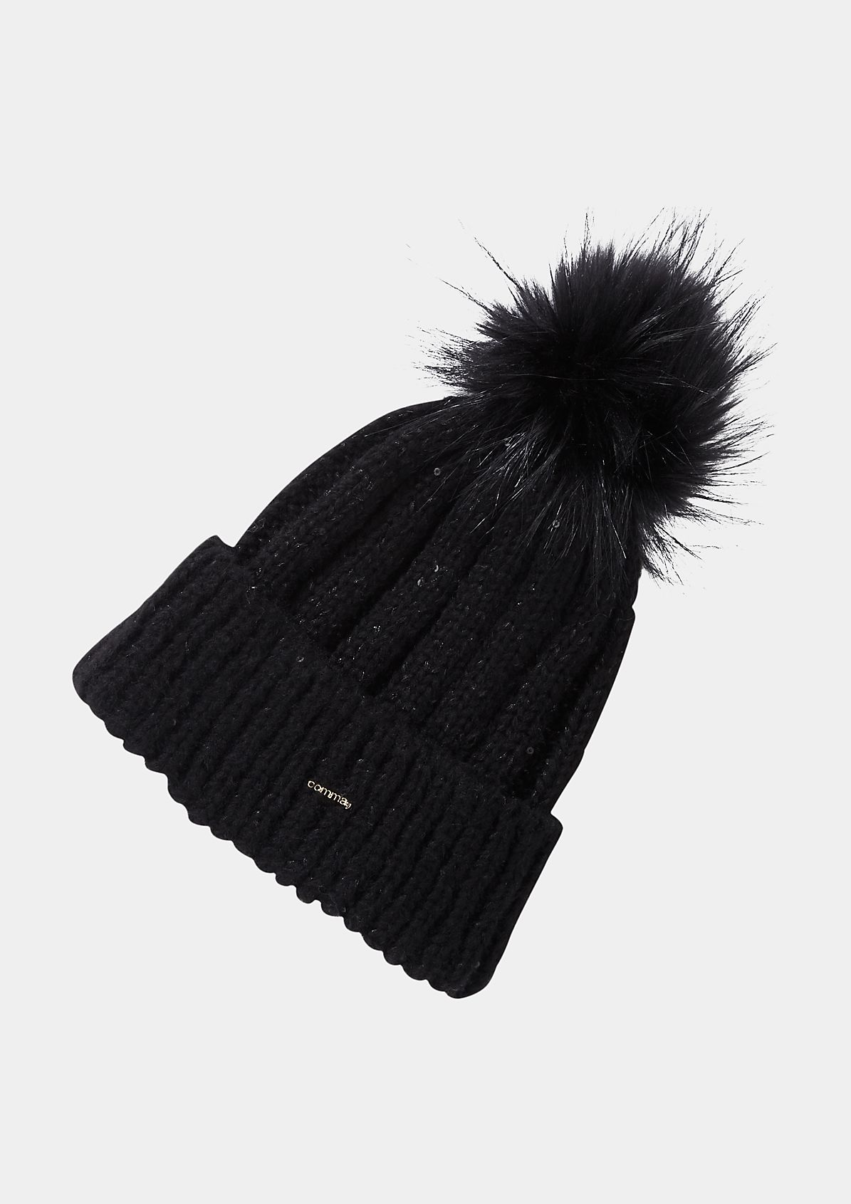 Knit bobble hat with a faux fur pompom from comma