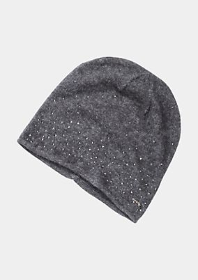 Warm knit hat with rhinestone embellishment from comma