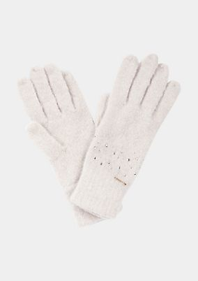 Soft gloves with rhinestone embellishment from comma