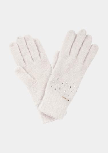 Weiche Handschuhe mit Glitzersteinverzierungen
