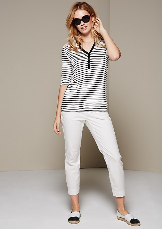 Sporty striped top with lacework and 1/2-length sleeves from s.Oliver