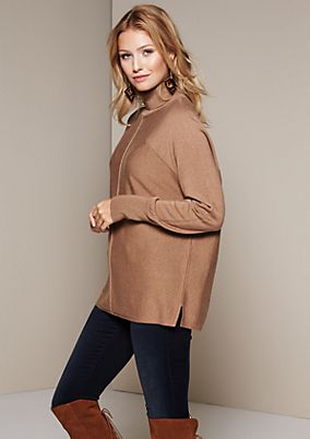 Elegant knit jumper with a high roll neck collar from comma