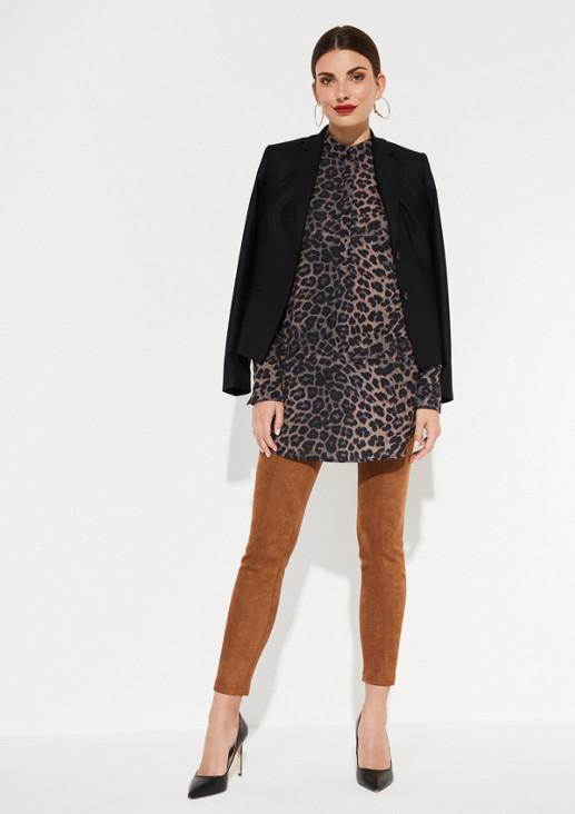 Chiffonbluse mit Leoparden-Alloverprint