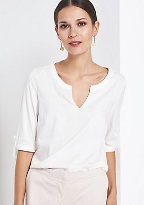 Simple short sleeve blouse with sophisticated details from comma