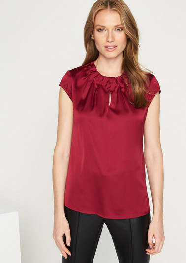 Elegant satin blouse with a decorative drape from comma