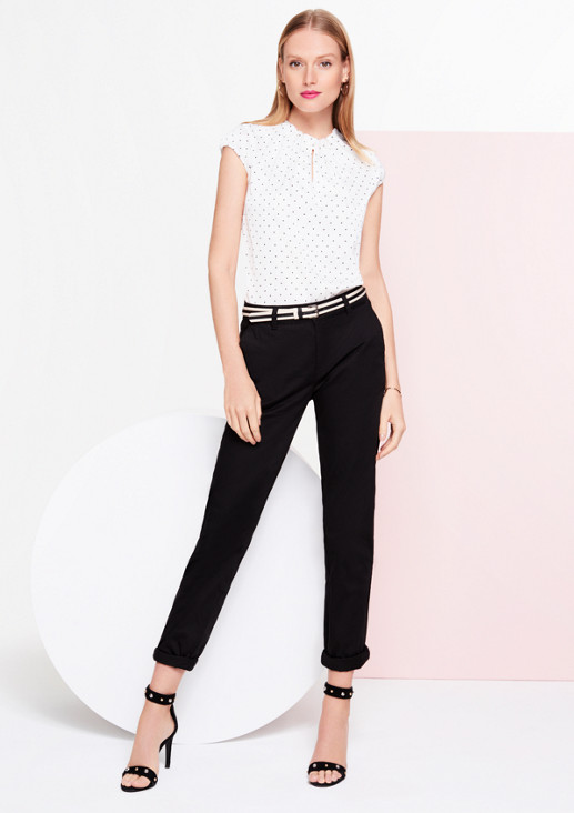 Short sleeve satin blouse with an all-over pattern from comma