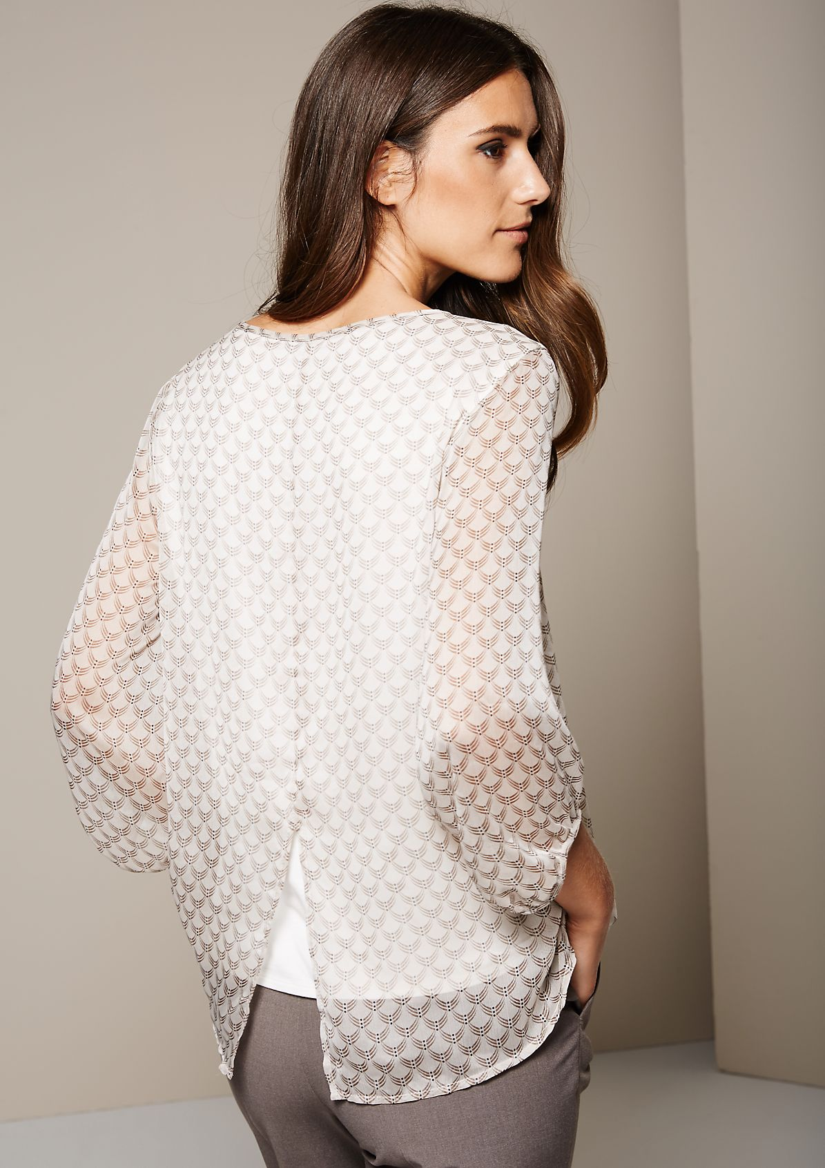 Delicate blouse with an all-over filigree pattern and 3/4-length sleeves from s.Oliver