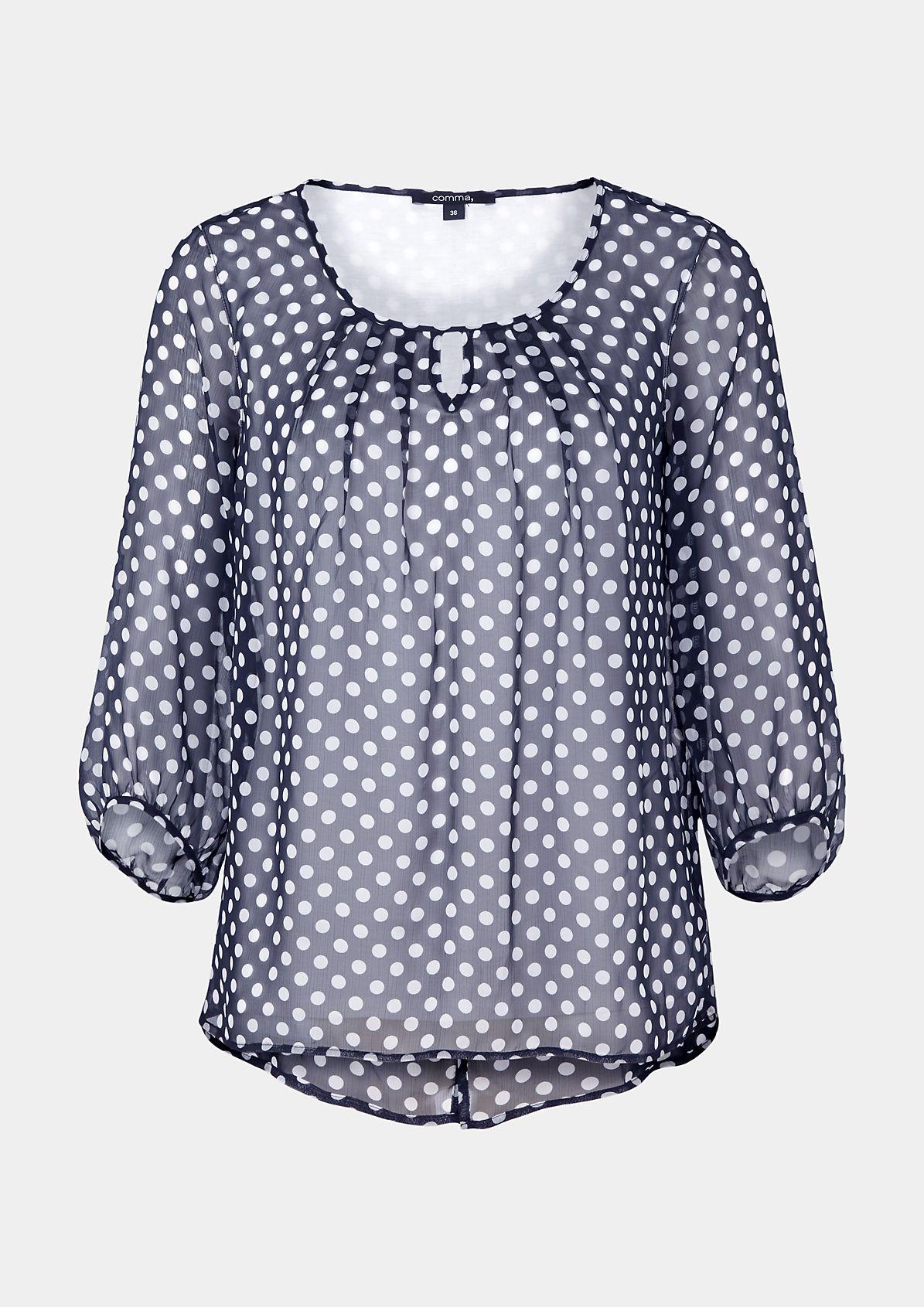 Hauchzarte 3/4-Arm Bluse mit dekorativem Musterspiel