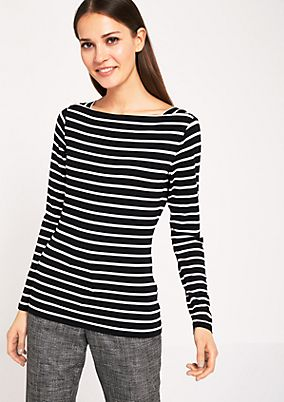 Long sleeve top with a classic stripe pattern from s.Oliver