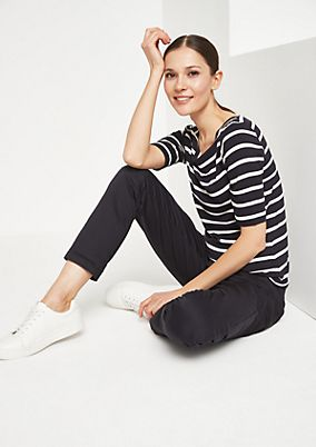 Short sleeve jersey top with a sporty striped pattern from comma
