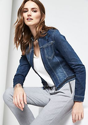 Cropped denim jacket with sequin embellishment from comma