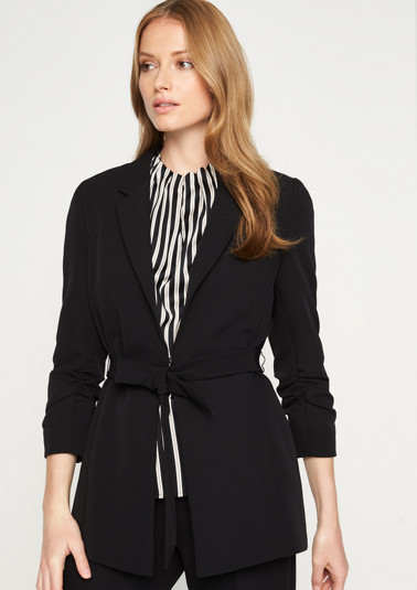 Elegant long blazer with a belt element from comma