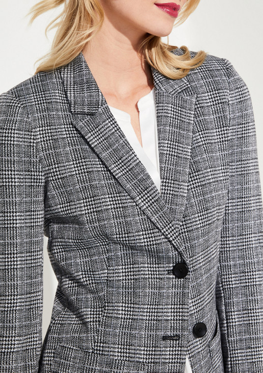 Business blazer with a check pattern from comma