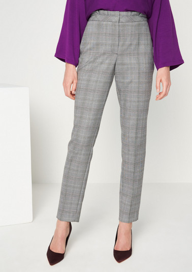 Elegant business trousers with a Prince of Wales check pattern from comma