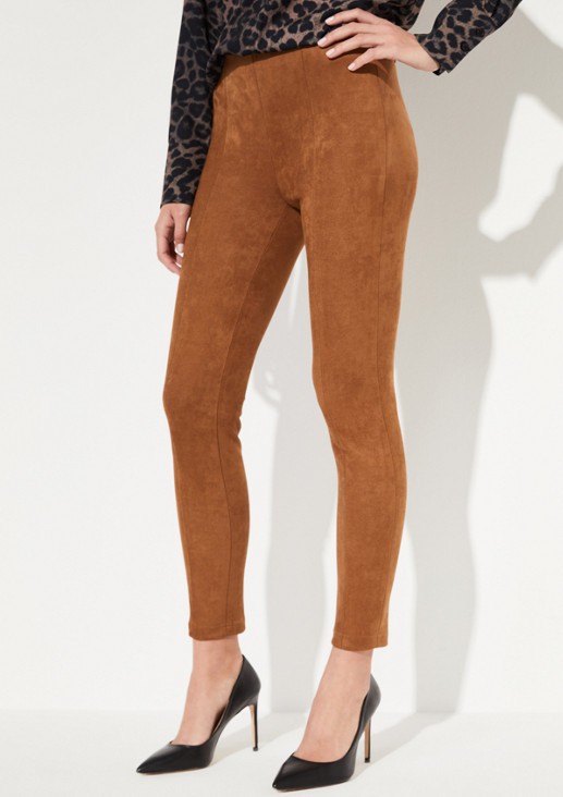 Leggings aus Veloursleder-Imitat