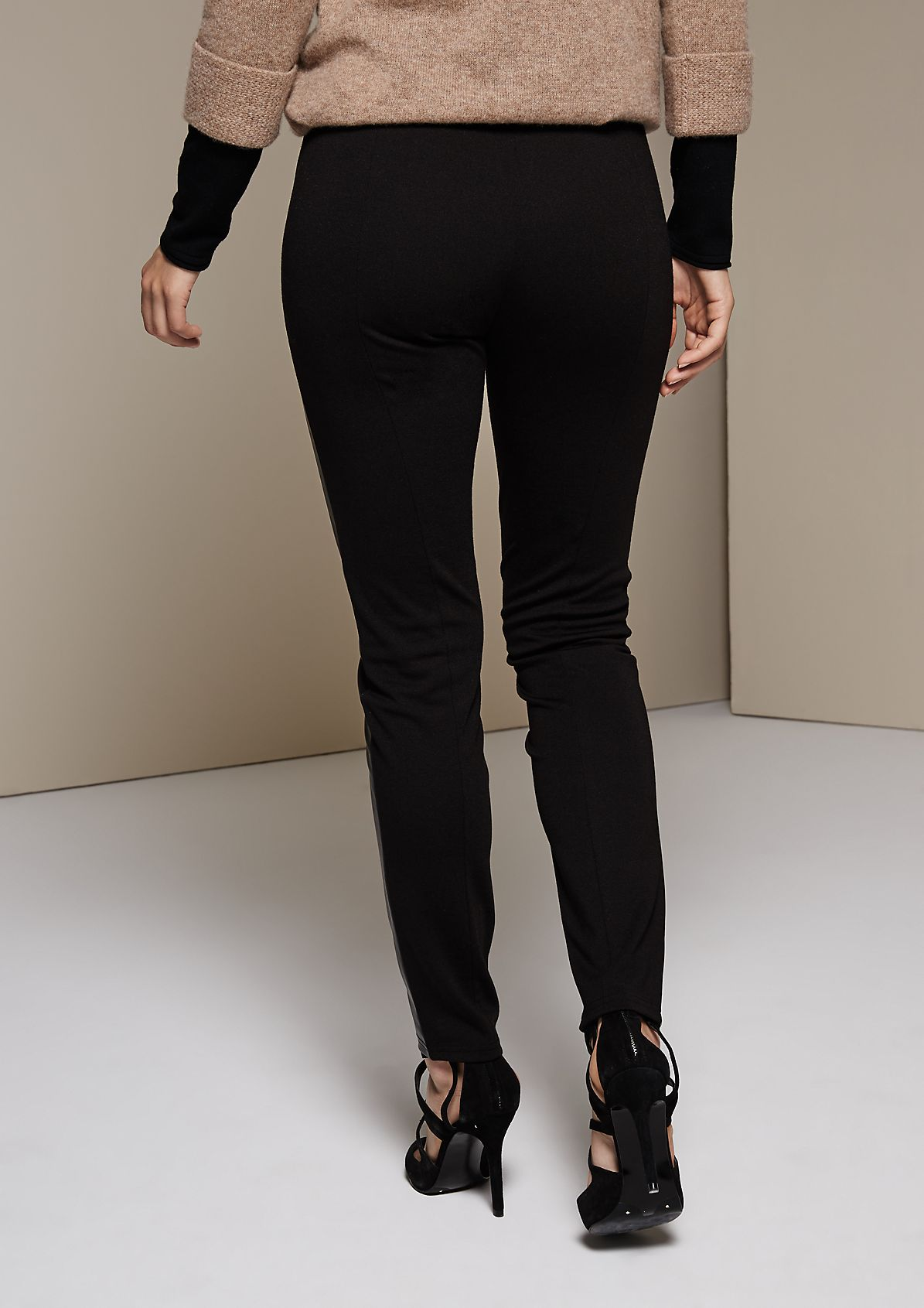 Extravagant leggings with imitation leather inserts from s.Oliver