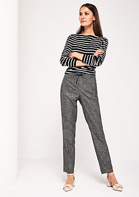 Elegant lounge trousers in mottled black & white from comma