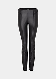 Elegant business trousers with imitation leather trimming from comma