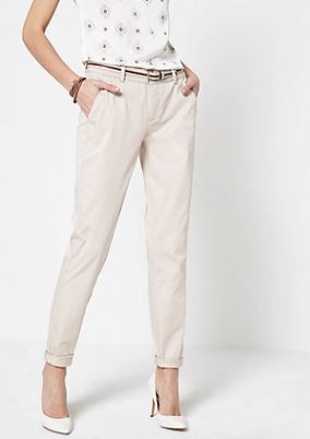 Casual satin trousers with a belt from comma
