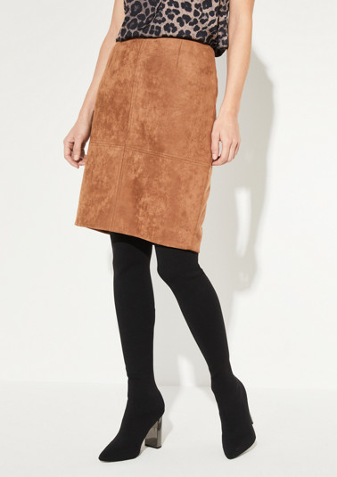 Mini skirt made of soft faux suede from comma