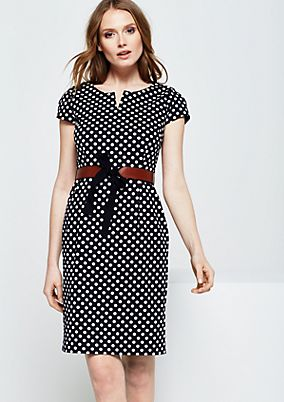 Festive evening dress made of fine satin with a classic polka dot pattern from s.Oliver