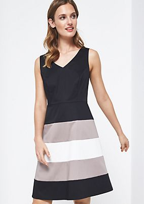Elegant satin dress with a stripe pattern from comma