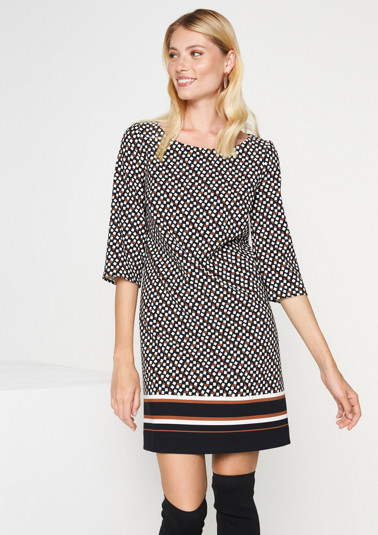 3/4 sleeve dress with an exciting all-over pattern from comma