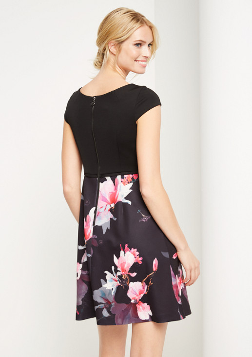 Business dress with a colourful printed skirt from comma