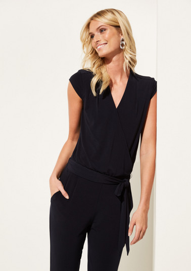 Jersey jumpsuit with a belt from comma