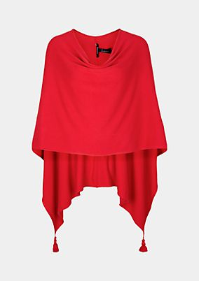 Fine knit poncho with decorative tassels from comma