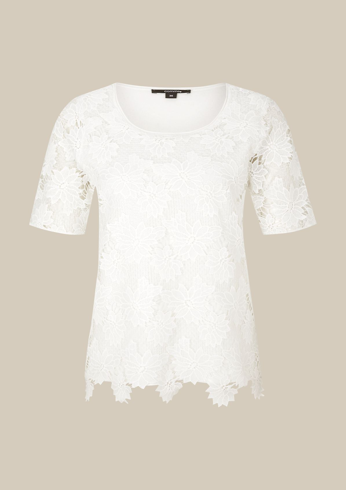 Extravagant short-sleeved knitted jumper with a fine lace trim from comma