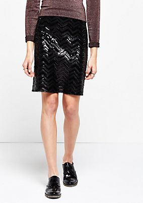 Glamorous short skirt with sparkling sequin embellishment from s.Oliver