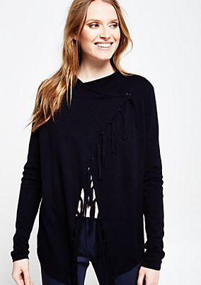Casual cardigan with decorative fringing from s.Oliver