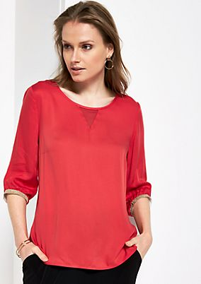 Crêpe blouse with 3/4-length sleeves and smart, detailed work from s.Oliver