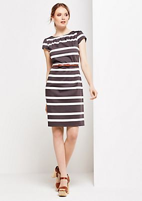 Elegant satin dress in a classic striped design from s.Oliver