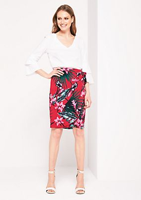 Jersey skirt with a summery floral pattern from s.Oliver