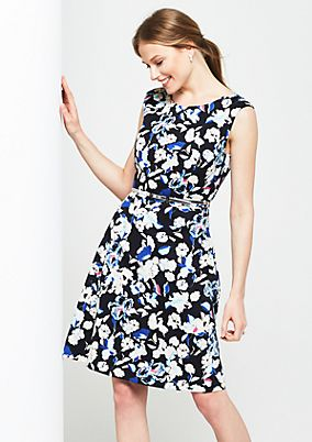 Elegant satin dress with decorative all-over print from s.Oliver