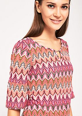 Kurzarm-Strickpullover mit smartem Two-Tone Muster