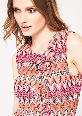 Knitted tank top with a fine two-tone pattern from s.Oliver