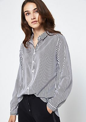 Classic shirt blouse with a vertical striped pattern from comma