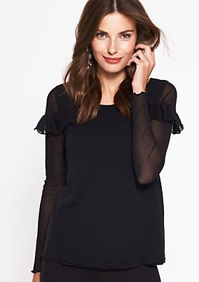 Delicate long sleeve mesh top with decorative ruffles from comma