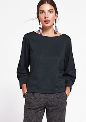 Textured 3/4-sleeve top with a sparkle from comma