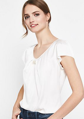 Mixed fabric top with short sleeves from comma